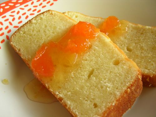 Sour cream pound cake with apricot glaze